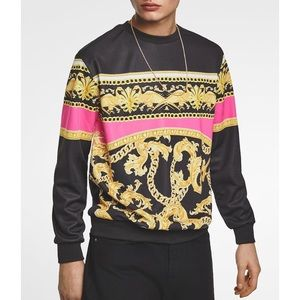 Zara Shirts - Zara Fluorescent Baroque Print Sweater